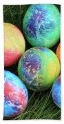 Colorful Easter Eggs On Green Grass Beach Towel