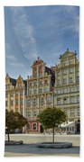 colorful facades on Market Square or Ryneck of Wroclaw Beach Towel