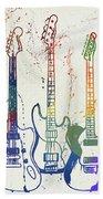 Colorful Fender Guitars Paint Splatter Beach Towel