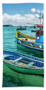 Colorful Fishing Boats Beach Towel