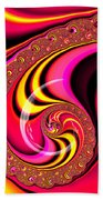 Colorful Fractal Spiral Red Yellow Pink Beach Towel