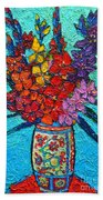 Colorful Gladiolus Beach Towel
