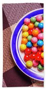 Colorful Gumballs On Plate Beach Sheet