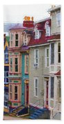 Colorful Houses In St. Johns, Nl Beach Towel