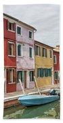 Colorful Houses On The Island Of Burano Beach Towel