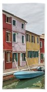 Colorful Houses On The Island Of Burano Beach Sheet