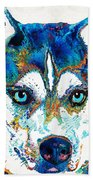 Colorful Husky Dog Art By Sharon Cummings Beach Towel