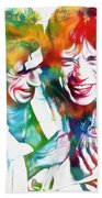 Colorful Mick And Keith Beach Towel