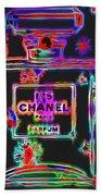 Colorful Neon Chanel Five  Beach Towel