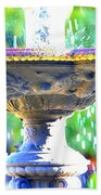 Colorful New Orleans Fountain Beach Towel