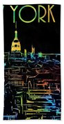 Colorful New York City Skyline Beach Towel