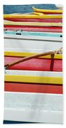Colorful Outrigger Canoes Beach Towel