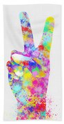 Colorful Painting Of Hand Point Two Finger Beach Towel
