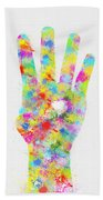 Colorful Painting Of Hand Pointing Four Finger Beach Towel