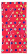 Colorful Pepermint Candy Canes Beach Towel