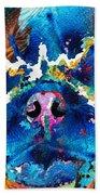 Colorful Pug Art - Smug Pug - By Sharon Cummings Beach Towel