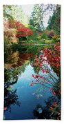 Colorful Reflection In Autumn Gardens. Beach Towel