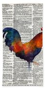 Colorful Rooster On Vintage Dictionary Beach Towel