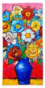 Colorful Roses And Camellias - Abstract Bouquet Of Flowers Beach Towel