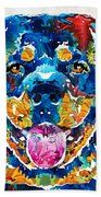 Colorful Rottie Art - Rottweiler By Sharon Cummings Beach Sheet