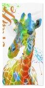 Colorful Safari Animals D Beach Towel