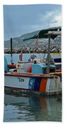 Colorful Saint Martin Power Boat Caribbean Beach Towel