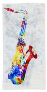 Colorful Saxophone Beach Towel
