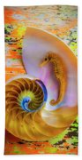 Colorful Seahorse And Nautilus Shell Beach Towel
