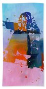Colorful Snowboarder Paint Splatter Beach Towel