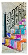Colorful Stairs Beach Towel