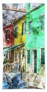 Colorful Street In Burano Near Venice Italy Beach Towel