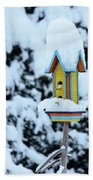 Colorful Wooden Birdhouse In The Snow Beach Towel