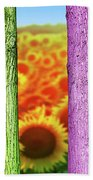 Colorfull Tree Trunks In Thefield. Abstract Psychedelic Colors Beach Towel