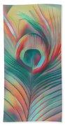Colors Of The Rainbow Peacock Feather Beach Towel