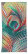 Colors Of The Rainbow Peacock Feather Beach Sheet