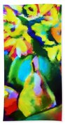 Colors, Pears And Flowers Beach Towel