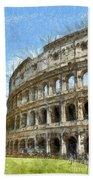 Colosseum Or Coliseum Pencil Beach Towel