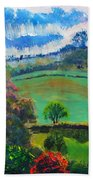 Colourful English Devon Landscape - Early Evening In The Valley Beach Towel