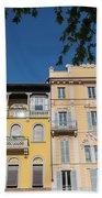 Colourful Facade Of Traditional Buildings In Como, Italy Beach Towel