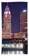 Columbus By Moonlight Beach Towel