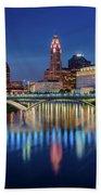 Columbus Ohio Skyline At Night Beach Sheet