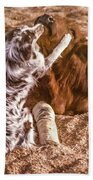 Comforting The Heifer With A Broken Leg Beach Towel