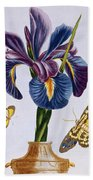 Common Iris With Butterflies Beach Towel
