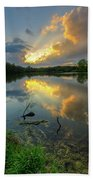 Community Lake #8 Sunset Beach Towel