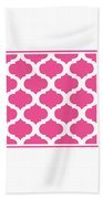 Compact Marrakesh With Border In French Pink Beach Towel