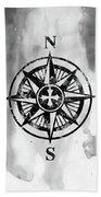 Compass-black Beach Towel
