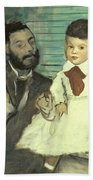 Comte Le Pic And His Sons Beach Towel by Edgar Degas