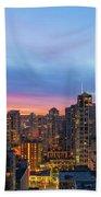 Condominium Buildings In Downtown Vancouver Bc At Sunrise Beach Towel