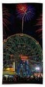 Coney Island At Night Fantasy Beach Towel