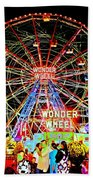 Coney Island Magic In Neon Beach Towel